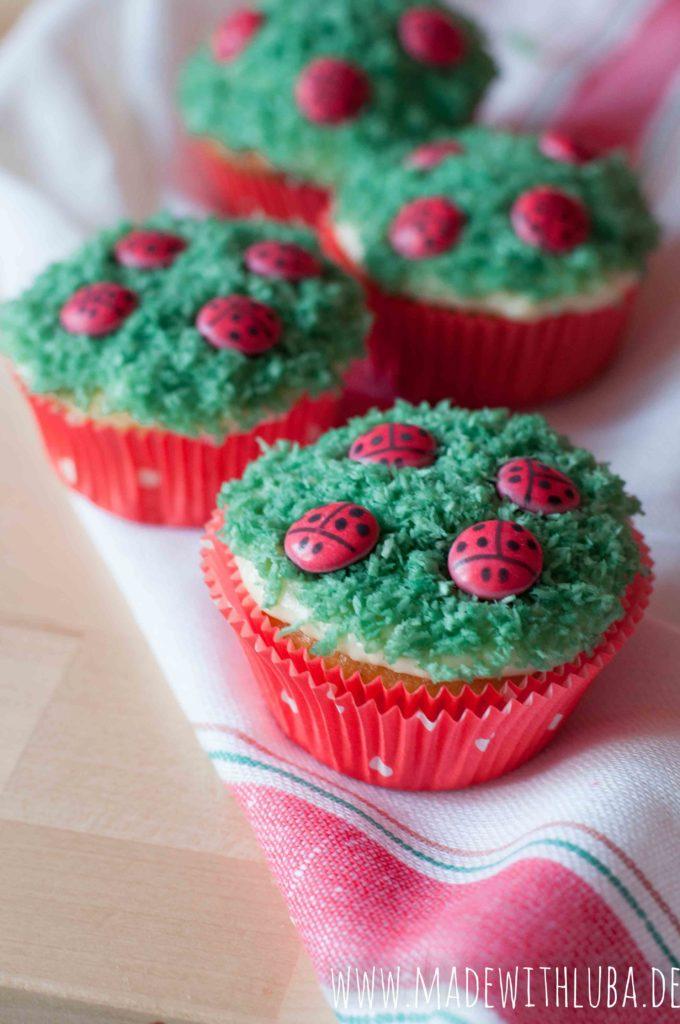 Nahaufnahme Marienkäfer Cupcakes