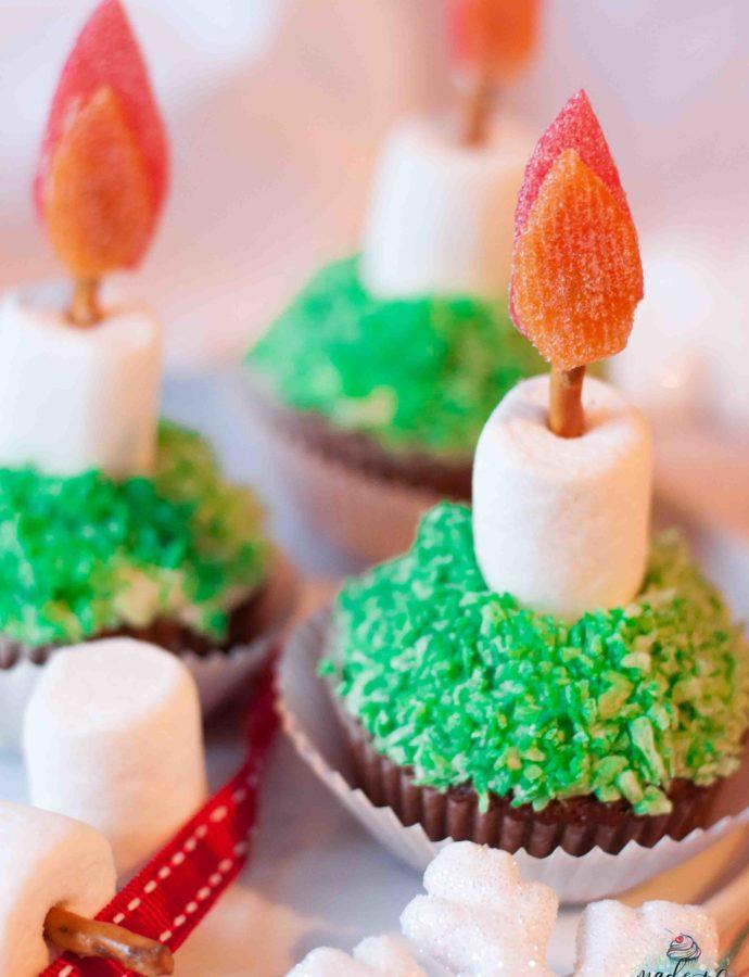 Weihnachtliche Kerzen-Cupcakes zur Adventszeit