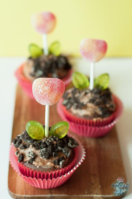 Schokoladige Blumentopf-Cupcakes für den Frühling