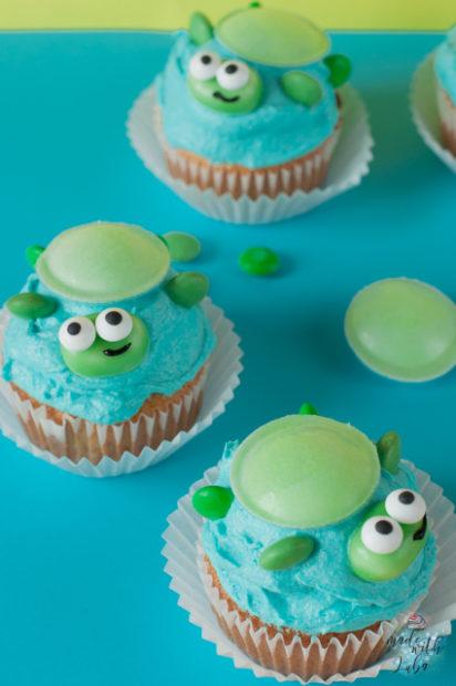 Lustige Schildkröten Cupcakes Ansicht von oben