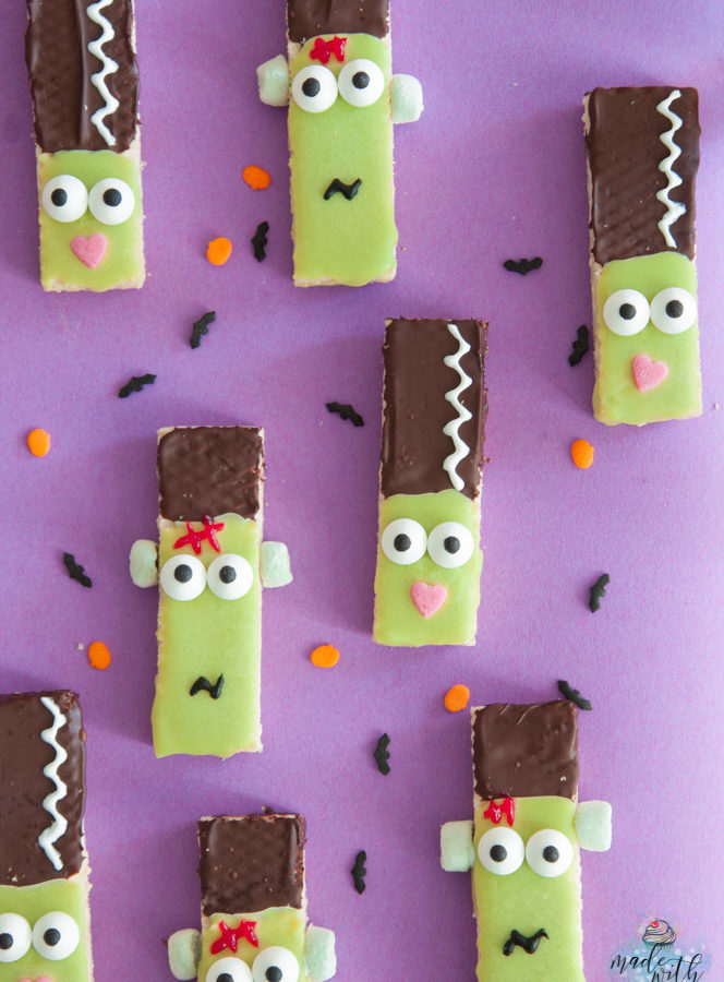 Lustiges Fingerfood für Halloween – Frankenstein-Waffelkekse