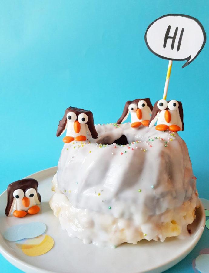 Schokoladiger Pinguin Kuchen – Mit verstecktem Creamcheese Swirl