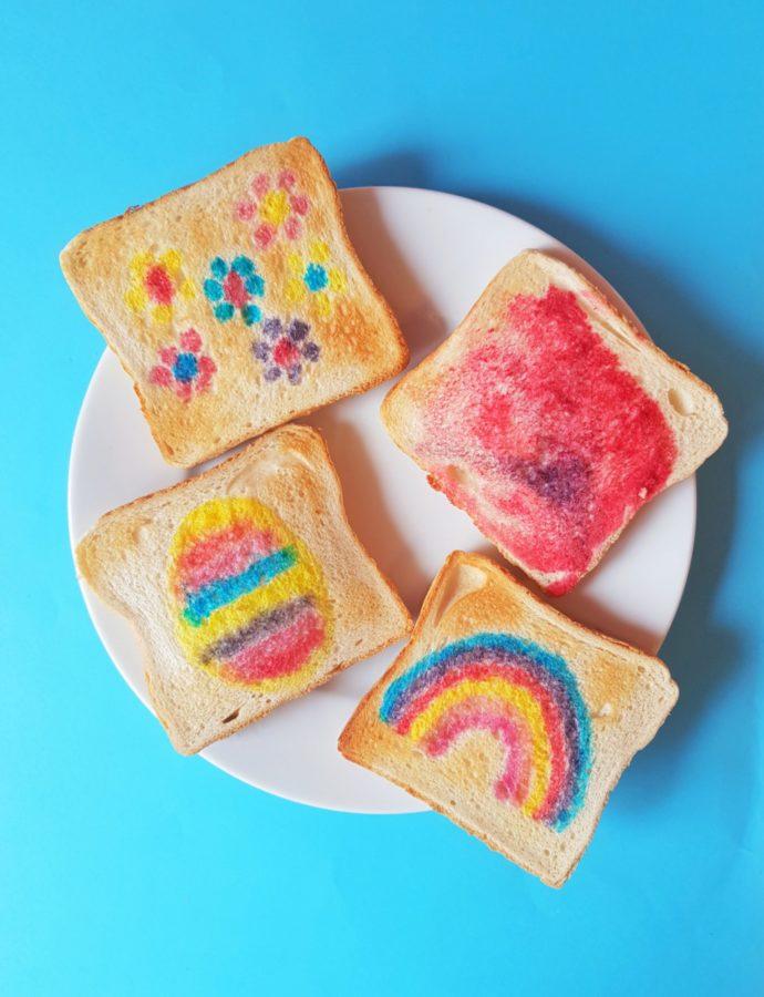 Toastbrot bemalen –  Mit bunten Lebensmittelfarben